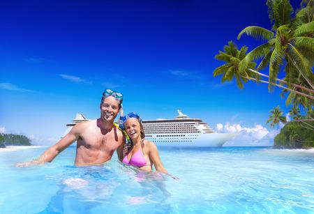 romance sky: Couple Beach Bonding Getaway Romance Holiday Concept