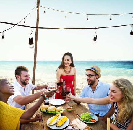 out to lunch: Friends Dining Summer Beach Party Cheerful Concept