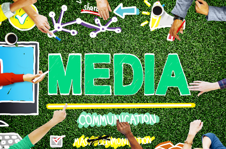 pr: Media Devices Mess Communication Multimedia Concept Stock Photo
