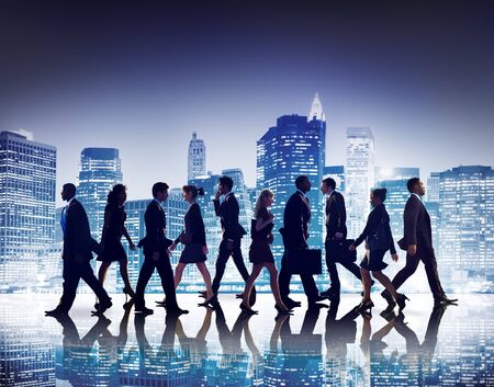 man woman silhouette: Business People Collaboration Team Teamwork Professional Concept