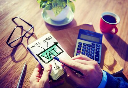 vat: Value Added Tax VAT Finance Taxation Accounting Concept Stock Photo