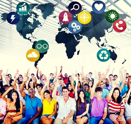 population growth: Global Communications Social Networking Connection Concept