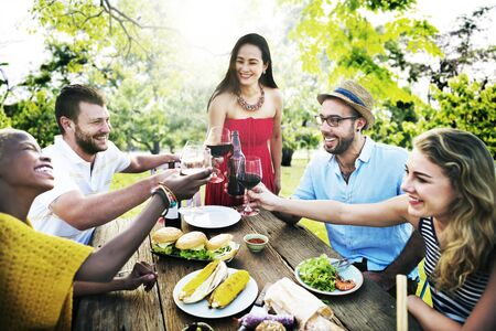 person outdoors: Friends Outdoors Party Celebration Hanging out Concept
