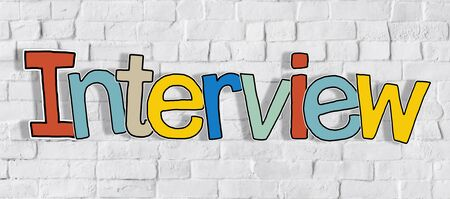 single word: Interview Brick wall Single Word Text Background Clean Concept