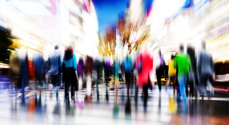 crowd of people: Business People Rush Hour Walking Commuting City Concept