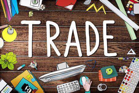 barter: Trade Commerce Exchange Negotiation Economic Concept Stock Photo