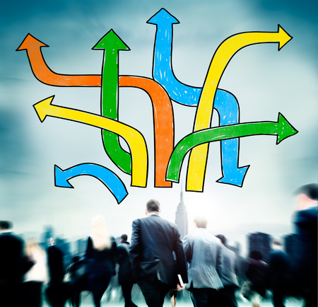 business change: Directions Choice Change Change Decision Making Concept
