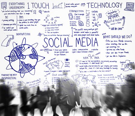 social life: Social Media Technology Global Communication Concept Stock Photo