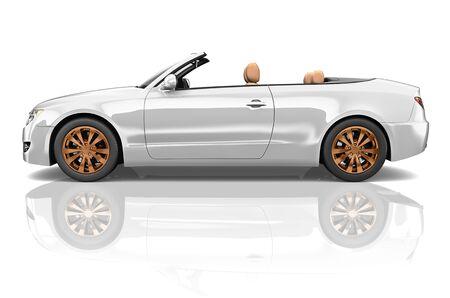 coupe: Car Convertible Transportation 3D Illustration Concept
