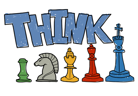 The word THINK and strategy concept