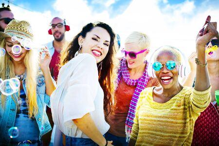 Amicizia Danza Legame Beach Felicità Joyful Concetto