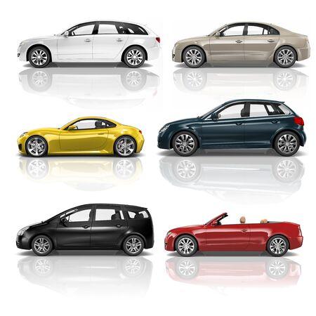 profil: Ilustracja samochodów samochody ciężarowe 3D Concept