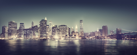 Concept New York City Panorama Nuit Banque d'images - 45626933