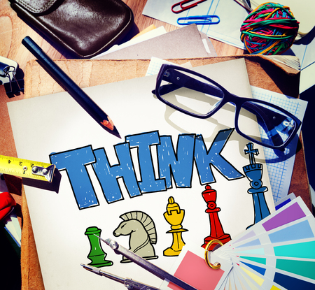 The word THINK and strategy concept Foto de archivo - 108602200