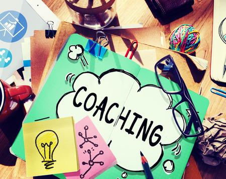 코치 코칭 기술 교육 훈련의 개념을 가르쳐 스톡 콘텐츠