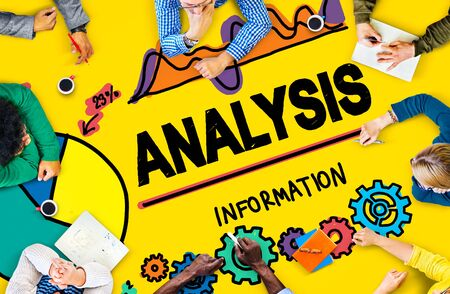 analyze: Analysis Analytics Analyze Data Information Statistics Concept Stock Photo