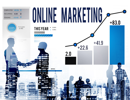 marketing online: Online Marketing Advertisement Target Promotion Concept