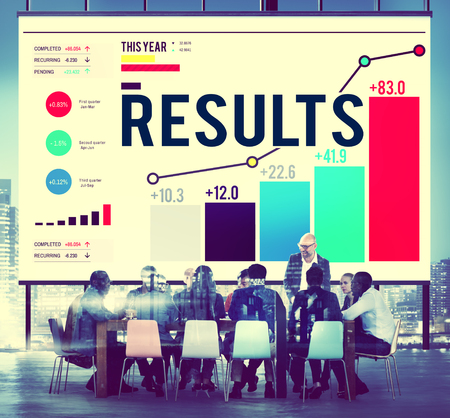 business results: Results Effect Achievement Assessment Evaluate Concept Stock Photo