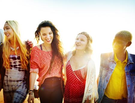 women friendship: Friendship Bonding Relaxation Summer Beach Happiness Concept Stock Photo