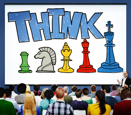 Presentation with the word THINK, strategy concept