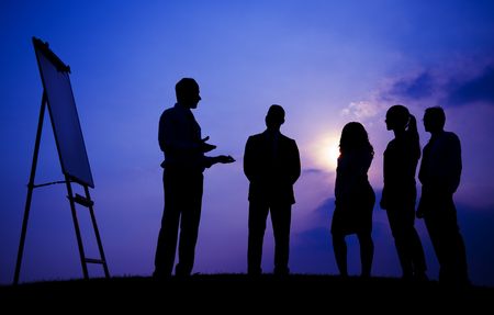 Business People Meeting Outdoors Silhouette Concept Stock Photo