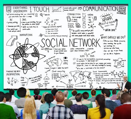global: Social Network Media Technology Board Concept