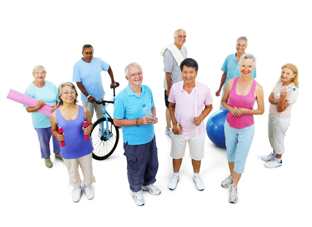 senior adult men: Group Healthy People Fitness Exercise Gym Concept