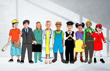 diversidad: Ni�os Ni�os Sue�o Jobs Diversidad Ocupaciones Concept Foto de archivo