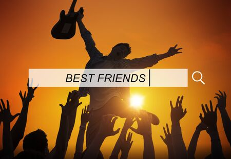 best party: Best Friends Friendship Searching Box Concept Stock Photo