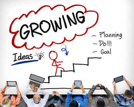 planeaci�n estrategica: Proceso de Crecimiento Planificaci�n Mejora Concepto Desarrollo Foto de archivo