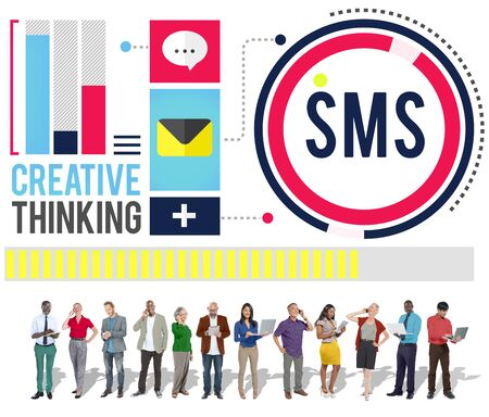 sms: Sms Digital Messaging Communication Technology Concept Stock Photo