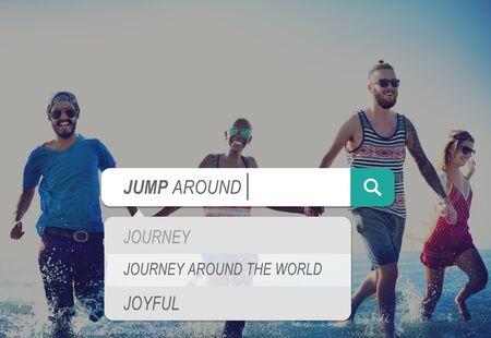 enjoyment: Jump Around Music Joyful Party Enjoyment Friends Concept