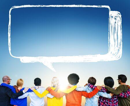 facing backwards: Speech Bubble Discussion Talking Symbol Concept