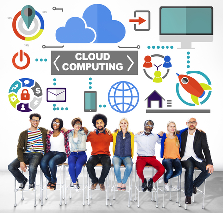 global communications: People Togetherness Global Communications Cloud Computing Concept