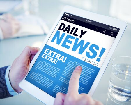 news current events: Businessman Holding Tablet Daily News Concept