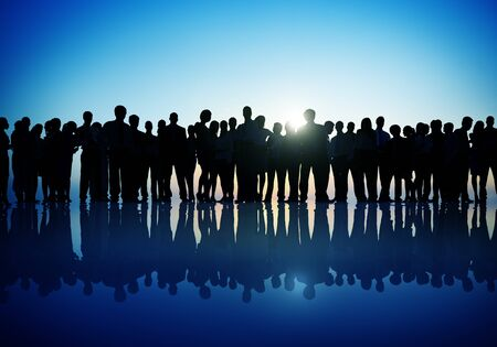 mision: Grupos Personas Negocio corporativo Permanente Silueta Concepto Foto de archivo