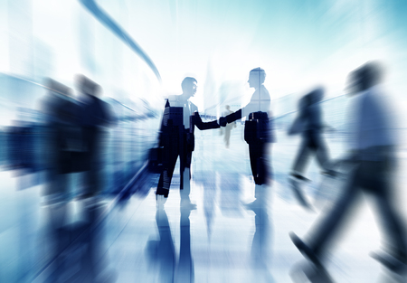 business support: Handshake Partnership Agreement Business People Corporate City Concept