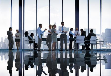 Zaken Mensen discussiebijeenkomst Cityscape Team Concept