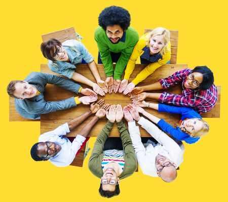 lend: Diversity People Charity Giving Lend Unity Group Concept