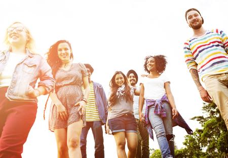 community group: Friends Friendship Walking Park Togetherness Fun Concept