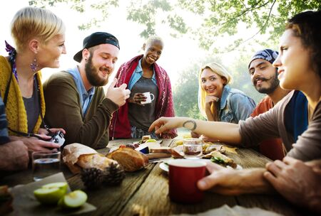 Friends Friendship Outdoor Dining People Concept Imagens