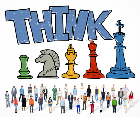 People and think with chess concept