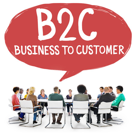 commerce: Business To Customer Consumer Commerce Contact Concept Stock Photo