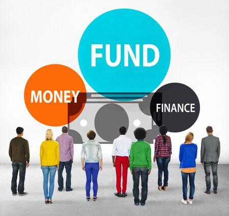 facing backwards: Fund Budget Business Finance Money Profit Wealth Concept Stock Photo