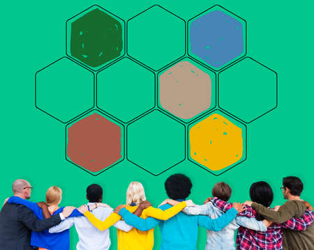 man rear view: Bee Hive Honey Community Teamwork Concept