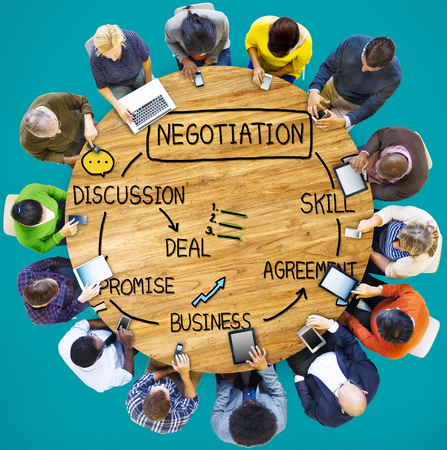 Negocjacje Współpraca Dyskusja Praca Współpraca kontraktu Zdjęcie Seryjne