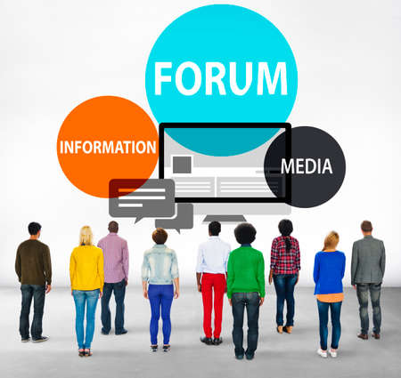 facing backwards: Forum Global Communication Connection Topic Concept Stock Photo
