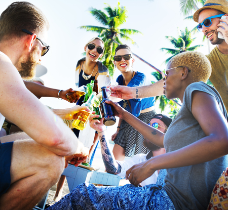 socialising: Friends Summer Beach Party Cheers Concept