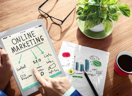Digital Online Marketing Office Working Concept