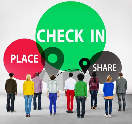 check in: Check in Direction Navigation Share Application Concept
